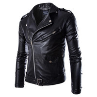 Wholesale Leather Jackets Lapels Men - Men Fashion PU Leather Jacket Spring Autumn New British Style Men Leather Jacket Motorcycle Jacket Male Coat Black Brown M-3XL