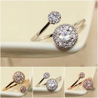 Wholesale women twin sets - Rose Gold Plated Fashion Design Twin Zircon simulated Diamond Engagement Rings for Woman