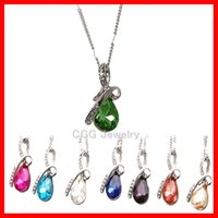 Wholesale Mixed Crystal Pendant 925 - Hot! Newest Austria Crystal Necklaces Jewelry Fashion Women Crystal Pendant necklace Jewelry Fit 925 Silver Necklace Pendant Mix Colors