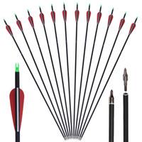 Wholesale Wholesale Bow Arrows - Plastic Vanes Carbon 31-Inch Arrows with Field Points Replaceable Tips for Recurve Bow and Compound Bow