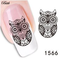Nail Art Sticker owl nail decals - Bittb Nail Art Sticker Black Lace Night Owl Fingernail DIY Decorative Flower Nail Decals Manicure Makeup Tool Nail Adhesive Foil