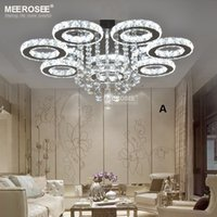 кольцо с бриллиантами оптовых-Современные светодиодные хрустальные люстры свет из нержавеющей стали Кристалл лампы для гостиной Спальня отель бриллиантовое кольцо светодиодные люстры хромированное освещение