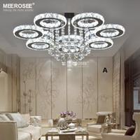 elmas yüzük led kristal avizeler toptan satış-Modern LED Cristal Avizeler Işık Paslanmaz çelik Kristal Lamba Oturma Yatak Odası Otel için Elmas Yüzük LED Cilalar Krom Aydınlatma