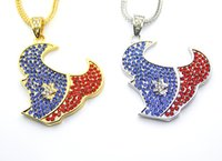 Wholesale Bulls Hip Hop Necklace - New Bling Bling Iced Out Crystal Bull Head pendant Hip hop Necklace Jewelry for Men Women