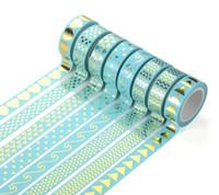 Wholesale Gummed Tape Wholesale - Wholesale- 2016 26 Styles Gilding Decorative Washi Tape Gummed Tape Sticky Paper Masking Adhesive Tapes Scrapbook Planner Notebook Decorat