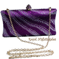 Gros Sac En Satin Violet Pas Cher-Grossiste en gros de vente en gros Purple Womens Evening Bag avec Rhinestone Crystal embrayage Purse