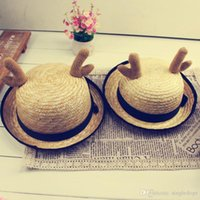 Wholesale Large Brimmed Hats For Women - Summer Fashion Antlers Large Floppy Foldable Straw Hat For Women Men Kids Vacation Travel Boho Wide Brim Cap Summer Holiday Free Shipping
