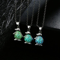 Wholesale Jewelry Penguin Pendant - High quality Jewelry fashion penguin luminous necklace 2017 burst hot models WFN156 (with chain) mix order 20 pieces a lot