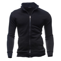 Wholesale Wholesale High Collar Hoodies - Wholesale- 2016 New Stand Collar Men's Hoodie Fashion and High Quality Jacket Mens Sweatshirt Man Zipper Coats Cotton Sweatwear