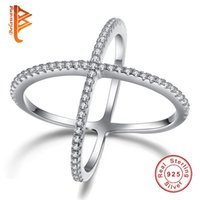 Wholesale Fingers Crossed - BELAWANG Fashion Double Cross Ring 100% Genuine 925 Sterling Silver Finger Ring Filled White Crystal Stone Rings For Women Wedding