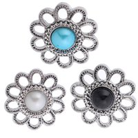 23mm Antique 3 couleurs Silver Studded Inlaid Pearl Flower Shape Bouton DIY Bricolage Noosa Jewelry Snap Charm Buttons N32S