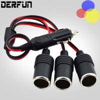Wholesale car cigarette plug adapter - NEW Car Cigarette Lighter 12V 24V Power Charger Adapter 1 to 3 Way Socket Splitter Female Socket Plug Connector Adapter