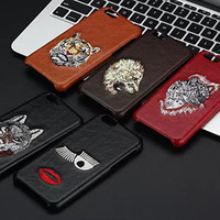 Wholesale Leopard Silicone Iphone Case - Embroidered Vintage PU Leather Case For iphone 6 6s plus Phone Shell for iphone 7 7plus Lion Wolf Leopard Tiger Animals Back Cover