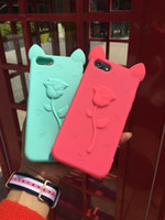 Wholesale Koko Silicone Case - 3D KOKO Flower Cat Cute Cartoon Silicon cover for Iphone 5 5S se 6 6s plus 7 7plus mobile phone case