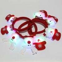 Wholesale Outdoor Lighted Santa - 2017 Christmas LED Headdress Luminous Glowing Double Santa Claus Snowman Deer Bear Cartoon Hairpin Headband New Year Children Gifts XL-X05