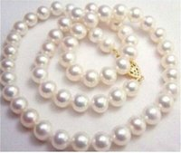 Wholesale South Sea Pearls Singapore - NEW 9-10MM NATURAL WHITE SOUTH SEA AAA+ PEARL NECKLACE 20 INCH 14k YELLOW GOLD