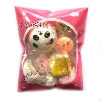 paquete de fresas al por mayor-10 unids / pack Squishies Slow Rising Squishy dulces casuales helados pastel de pan Fresa Pan Charm Teléfono Correas Fruta Suave Niños Juguetes