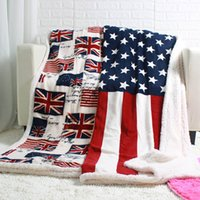 Wholesale coral plush - Big Discount Double Layer Thick Winter NEWYORK LONDON Canada USA UK Flag Blankets Coral Fleece Sherpa Plush Throw Blanket 130x160cm