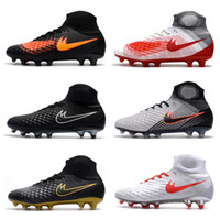 Wholesale Cheap Mens Ankle Shoes - 2018 original soccer cleats new magista obra fg AG II soccer shoes high ankle football boots cheap Mens cleats boots football shoes