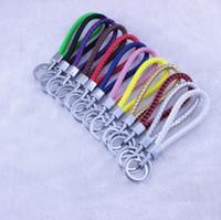 Wholesale Cartoon Handmade Keychain - Creative Unisex Keyring Key Chain Fashion Handmade Braid PU Leather Keychain Men Women Keys Chains Keychains