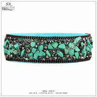 Wholesale Turquoise Gravel - Wholesale-2016 New Bohemia Women Turquoise Bracelets Adjust Gravel Natural Stone Velvet Rope Bangle Vintage Charms Purseras Bijoux