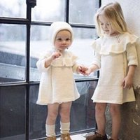 Wholesale Kid Dress Set Wholesale - 2017 INS Girls Baby Childrens Dresses 100% Cotton Knit Long Sleeve Princess for Girls Clothing Toddler Kids Boutique Clothes With Cap
