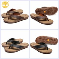 Original Timberland Leather Thong Sandal для мужчин Flip Flops Rubber Sole Slip Resistant Outdoor Beach Slippers Модные слайды туфли