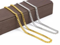 Wholesale Real Solid 24k Gold - men chain link 5mm 30inch 3mm 24inch Real 24K Yellow Gold Rhodium Plated Solid Cuban Curb Chain Mens Necklace Hip Hop Jewelry chain link