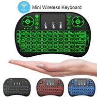 Wholesale keyboards blue - New Fly Air Mouse 2.4G Mini RII I8 Wireless Keyboard With Backlight Red Green Blue Remote Controlers For MXQ S905X S912 TV