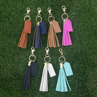 Wholesale Tassle Bags Wholesalers - Leather Tassel Key Fob Tassle Keychain With Metal Bag Hook Bag Charm with One PU Tag for Monogramming With 7 Colors Available DOM106425