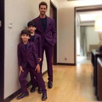 Wholesale Mo Pants - Father And Son Purple One Button Men Suits Fashion Suits Notched Lapel Trim Fit Groom Wear (Jacket+Pant)