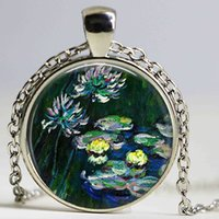 Wholesale Lily Paintings Art - Claude monet water lilies necklace ,water lilies painting pendant , monet art pendant ,spring jewelry, monet jewelry,Impressioni