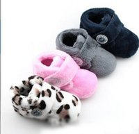 Wholesale Leopard Baby Warm Boots - Winter Children Girls Boys Fashion Solid Leopard Boots Baby Foot Wear Toddler Sofe Warm Snow Boots Prewalker Velvet Shoes B4356