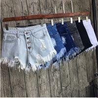 Wholesale Hem Design Coats - Wholesale- Women Vintage Denim Hole Short Jeans Hem Fringe Rivet Design ShortS Sexy Causal Summer Shorts pantalones cortos Brand Tops 32863