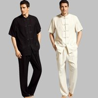 Wholesale Art Service - Chinese wind linen men's suit suit large size Chinese short-sleeved shirt Han clothing home service summer costume short sleeve suit