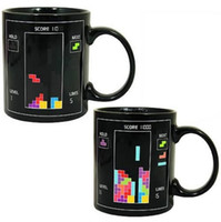 Wholesale temperature color changing mugs - 48pcs lot Tetris Color Changing Mug Cup Temperature Changing Kids Birthday Present For Home DHL Fedex Free Shipping