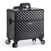 Wholesale Trolley Case Cosmetics - TENSUNVIS Makeup Artists Rolling Makeup Train Case Cosmetic Trolley Box with Lock, Lift Handle and 4 Wheels