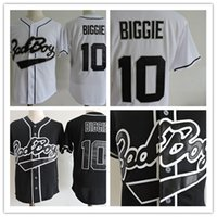 Wholesale Bad Boys - Mens stitched white cheap Biggie Bad Boy MOVIE jerseys discount Black #10 Biggie Biggie Bad Boy BASEBALL JERSEY size S-3XL