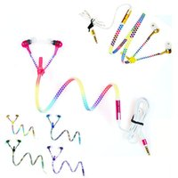 Wholesale Glow Dark Rainbow - Rainbow Glow in dark Zipper Earphone Metal Colorful Luminous Headphone glow lighting Headset With Mic for Smart phone Laptop with retail box