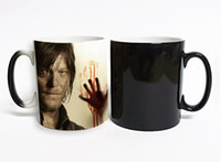 Wholesale ceramic color changing mug - Walking Dead Mugs Magic Color Change Ceramic Coffee Mug Hot Cold Heat Sensitive Color changing Black and White Heat Reveal Magic Zombie mugs
