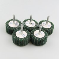 Wholesale Od Tools - 5 pieces OD 50mm Green Mounted Combi Interleaf Non-woven Flap Wheel Dremel Drill Rotary Tools