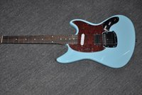 Wholesale Guitar Body Bridge - with logo IN STOCK mustang daphne blue electric guitar with red pickguard original bridges Exclusive classic 70s High quality