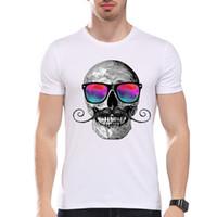 Wholesale Cheap Skull Clothes - Men Clothing Tees Cheap Men's Glasses Beard Skull Summer T-Shirt Short Sleeve O-Neck Modal Hipster Top Tees white