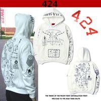 Wholesale Graffiti Skull - Europe Amrican Street Skateboarding Brand 424 Graffiti Men's Hip Hop Hooded Sweater Jacket Skull Hedge Loose Hoodie