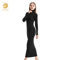 Wholesale thick long sleeve sweater dress - womens winter Cashmere sweaters auntmun women knitted Pullovers High Quality Long Female Trutleneck Ankle-Length Long Sweaters Dress