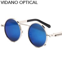 Wholesale Mens Circle Sunglasses - Vidano Optical Newest Mens Sunglasses Coating Polarized Sunglasses Round Circle Sun Glasses Retro Vintage Gafas Masculino Sol
