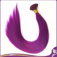 Wholesale Synthetic Hair I Tip - Wholesale- 100Pcs Lot 20''Purple Synthetic Fiber Grizzly Feather I Tip Hair Extensions Cosplay Party Halloween Masquerade Hair Ornament
