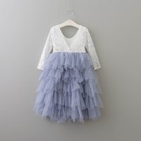 Wholesale New Flower Girl Party Dresses - Retail New Girls Princess Dresses Lace Flower Tiered Tulle Maxi Dress Long Sleeve For Wedding Party Children Clothes 1-10Y E17104
