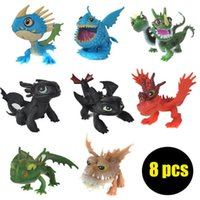 Wholesale Wholesale Dragon Models - How to Train Your Dragon Action Figures Cartoons 8 Pcs PVC Collectable Model Night Fury Toothless Gronckle Deadly kids Gift Toys