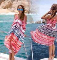 Wholesale Ladies Chiffon Sun Dresses - 2017 Fashion Women Beach Dress Sexy Ladies Print Chiffon Bikini Cover Up Beachwear Summer Sun Vacation Bohemian blouse